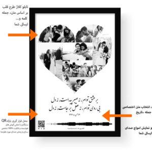 توضیحات تابلو کلاژ طرح قلب مشکی - portarit guide preview cafewave 600×600