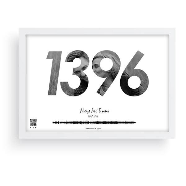 تابلو اعداد افقی قاب سفید-تابلو صوتی