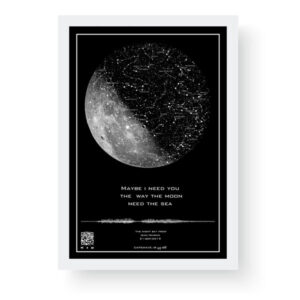 تابلو آسمان طرح ماه سفید-تابلوی صوتی