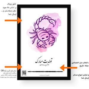 اطلاعات تابلو نماد زودیاک قاب مشکی
